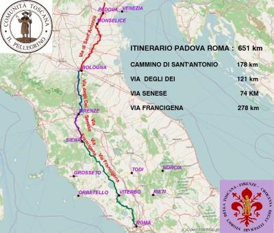 ITINERARIO PADOVA- ROMA tit